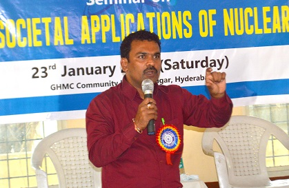 Dr. Thirumalesh Keesari at the seminar on Peaceful and Societal Applications of Nuclear Energy organised by Social Cause